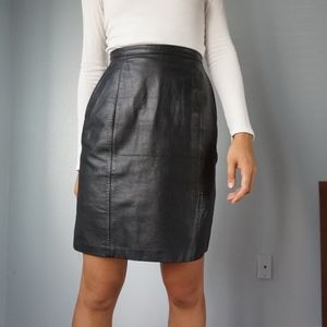 Vintage Genuine Leather High Waist Skirt